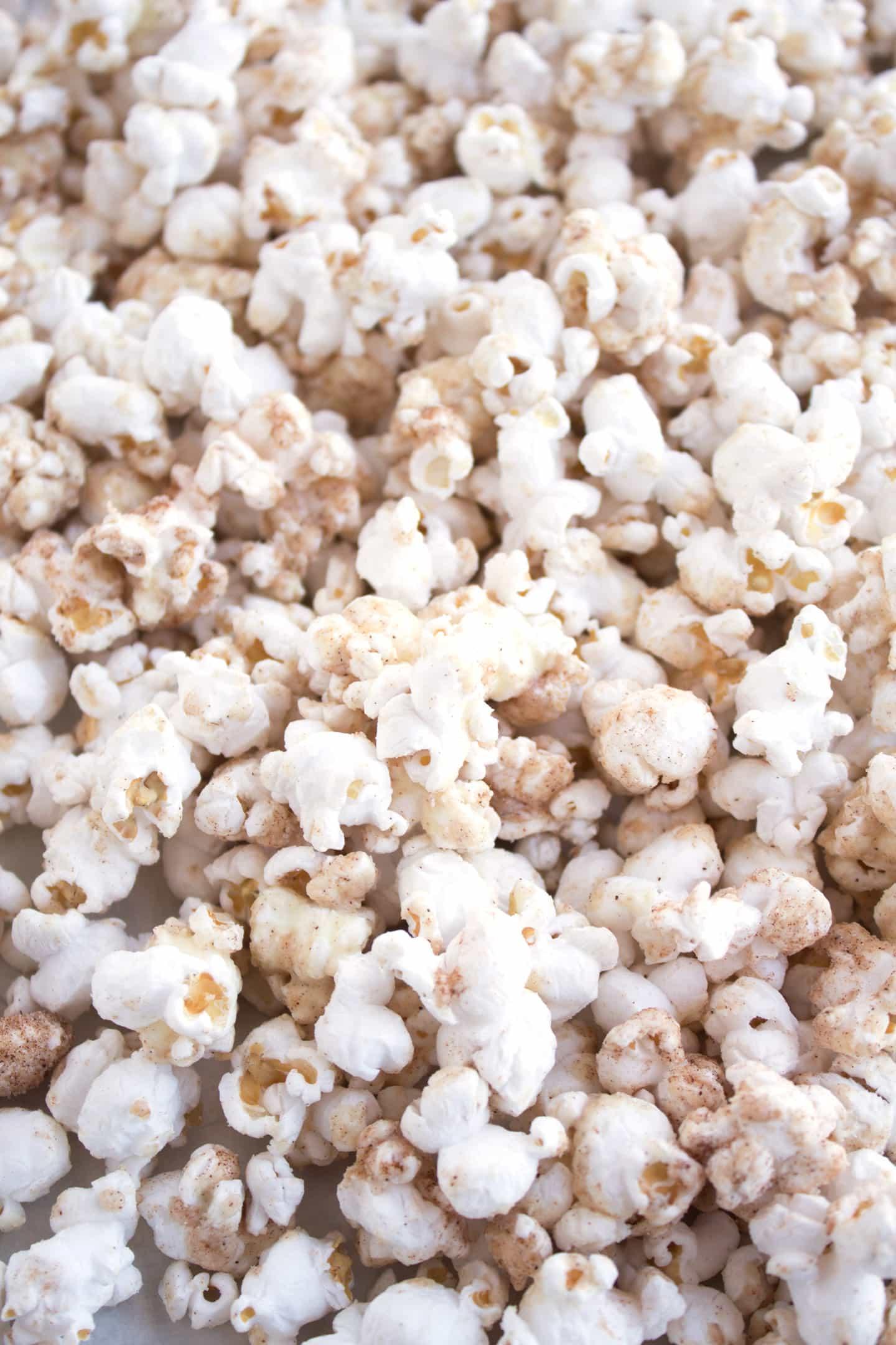 Close up view of White Chocolate Churro Popcorn
