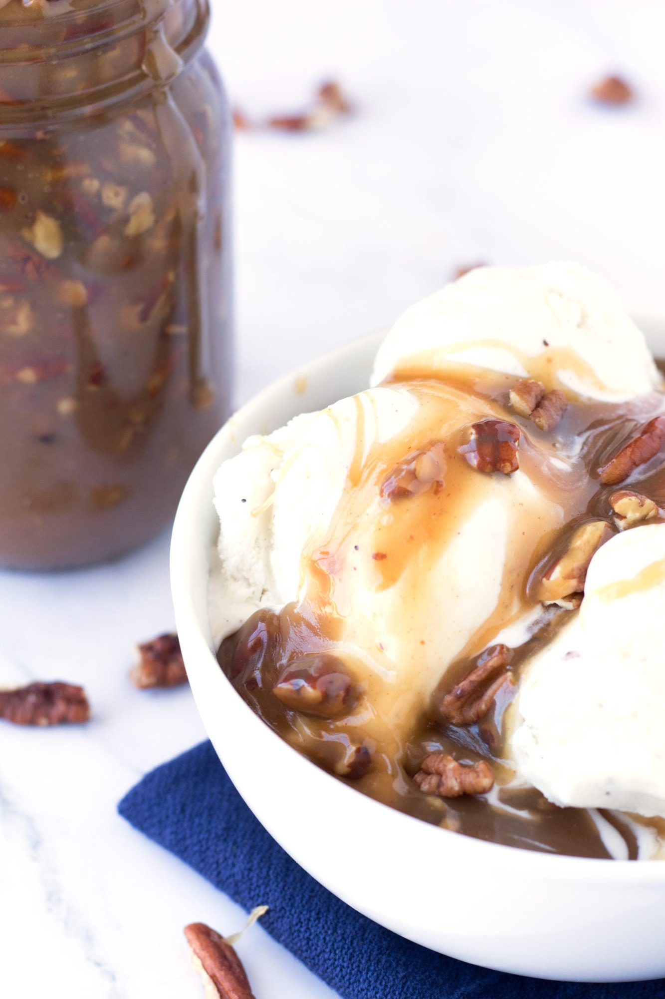 Ice Cream with Caramel Pecan Sauce