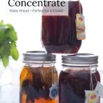 Three jars of iced tea concentrate with text overlay.