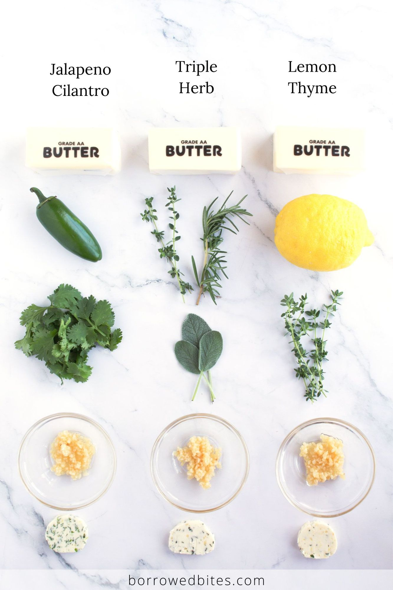 Ingredients for savory flavored butter with text overlay.