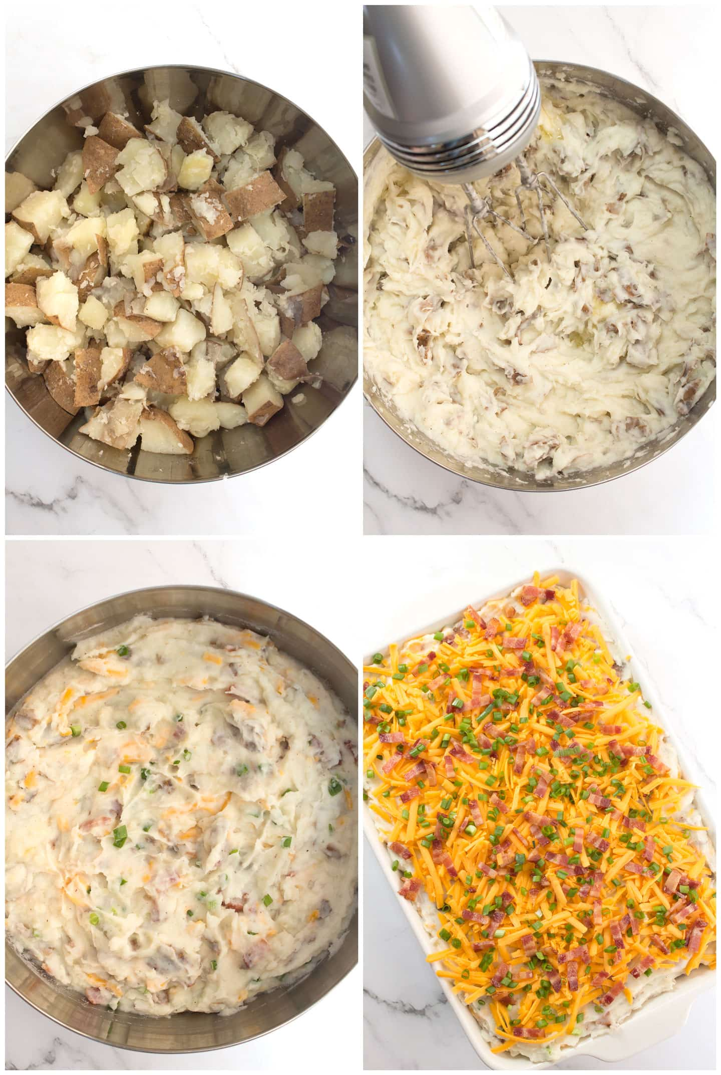 Potatoes in a bowl, potatoes after being mashed with beaters, potatoes with cheese, bacon, and green onions, potato mixture in baking pan.