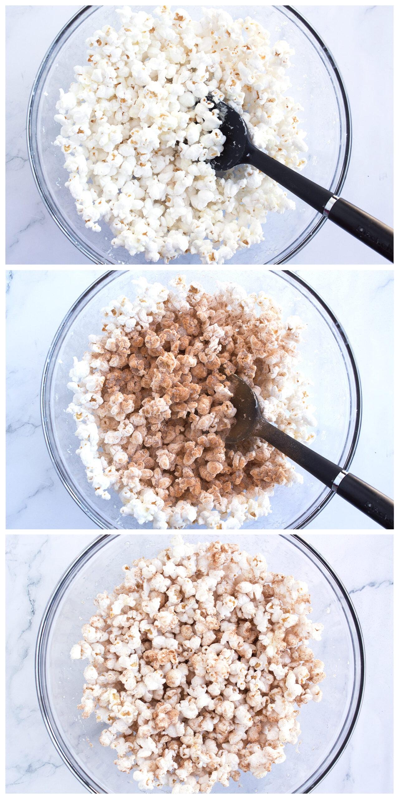 Steps 1, 2, and 3 to make White Chocolate Churro Popcorn