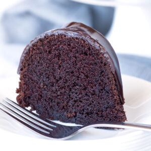 Piece of chocolate bundt cake with fork