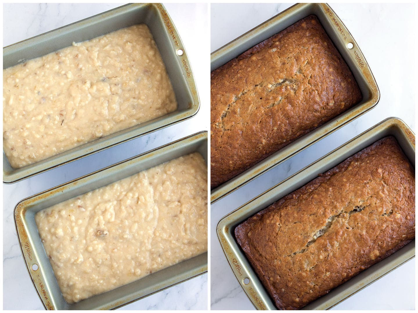 Batter in loaf pans before and after baking