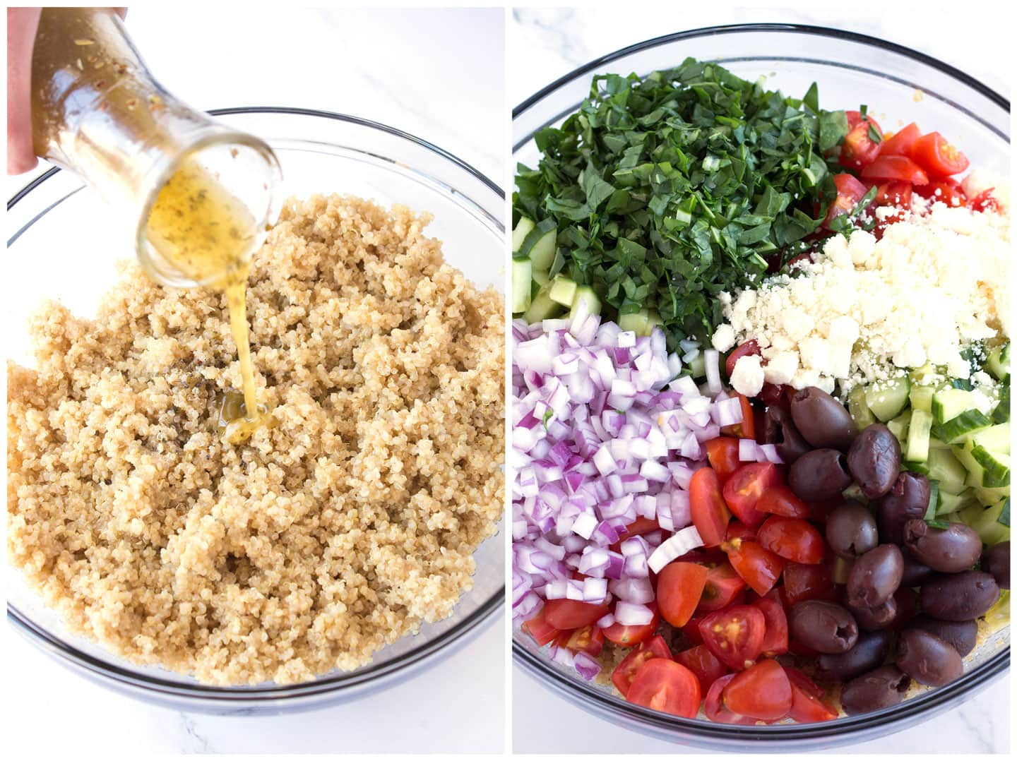 Quinoa an toppings in bowls before tossing
