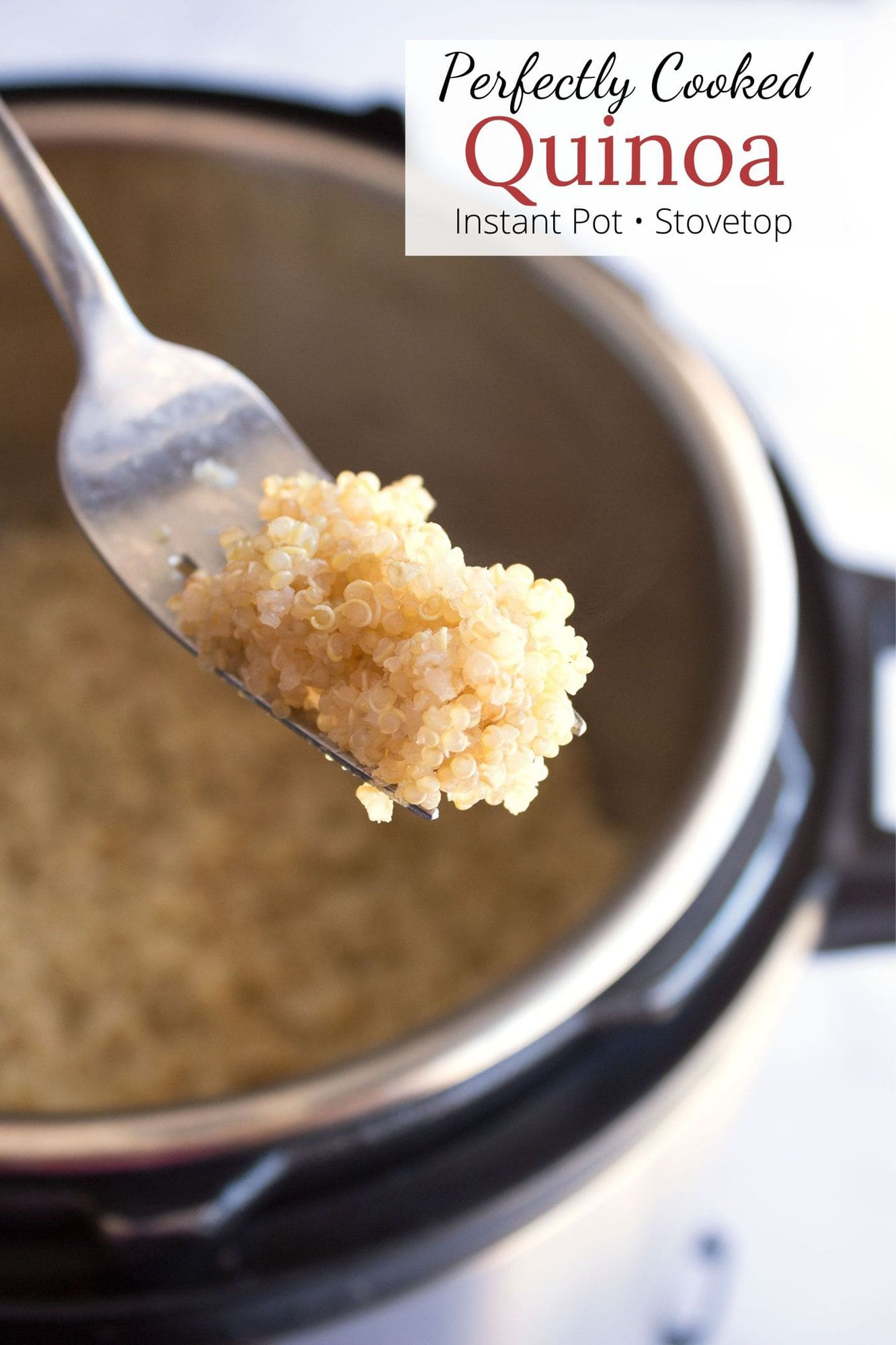 Fluffed quinoa on a fork with text overlay