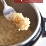 Fluffy quinoa on a fork with text overlay