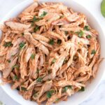 Overhead bowl of Shredded Honey Lime Chicken