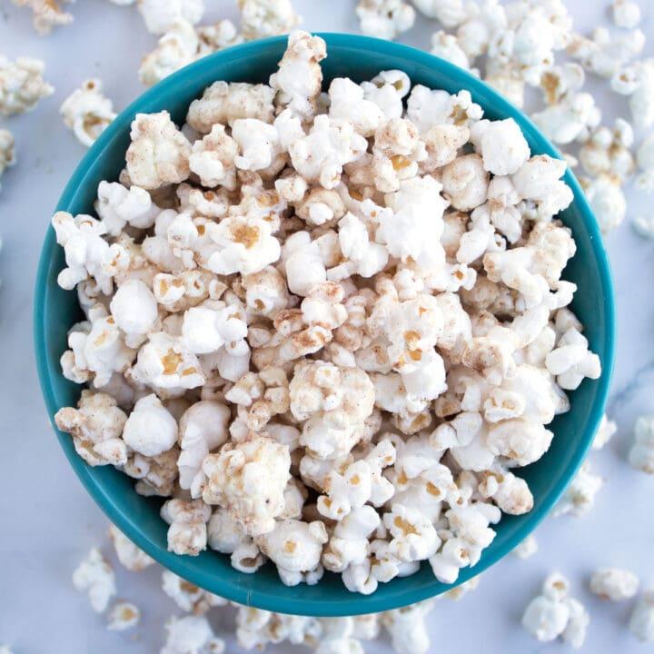 Bowl of White Chocolate Churro Popcorn