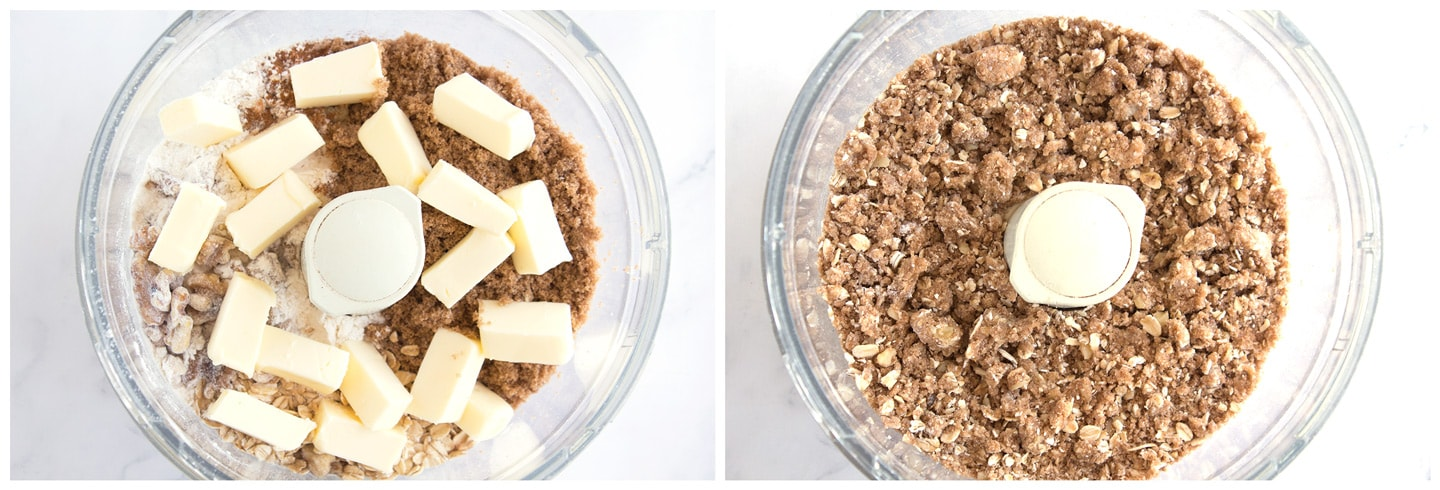 Cinnamon oat crumble topping before and after pulsing in food processor.