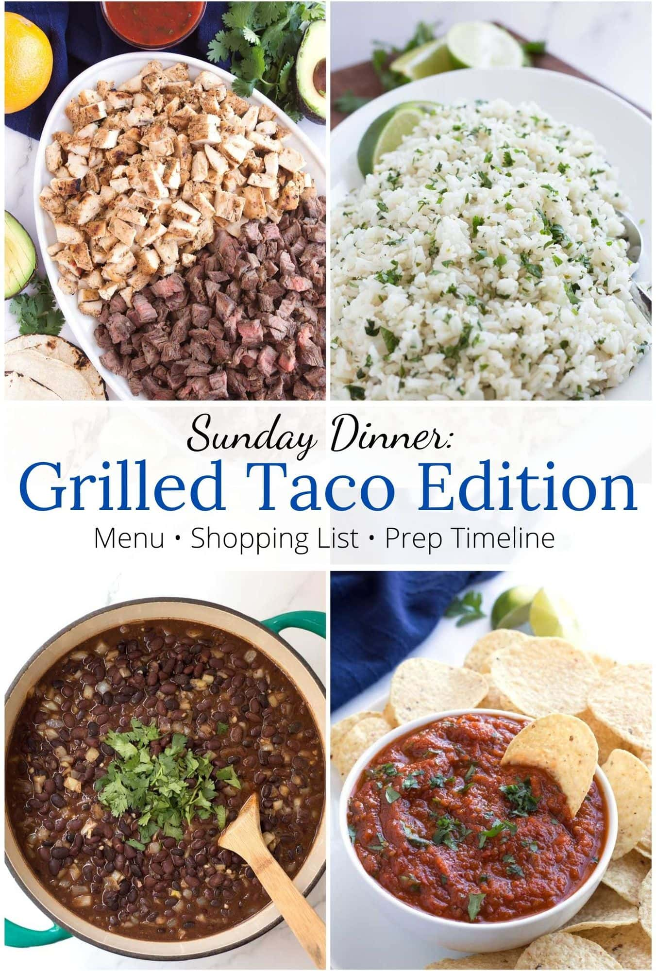 Grilled taco meat, rice, beans, and salsa with graphic overlay.