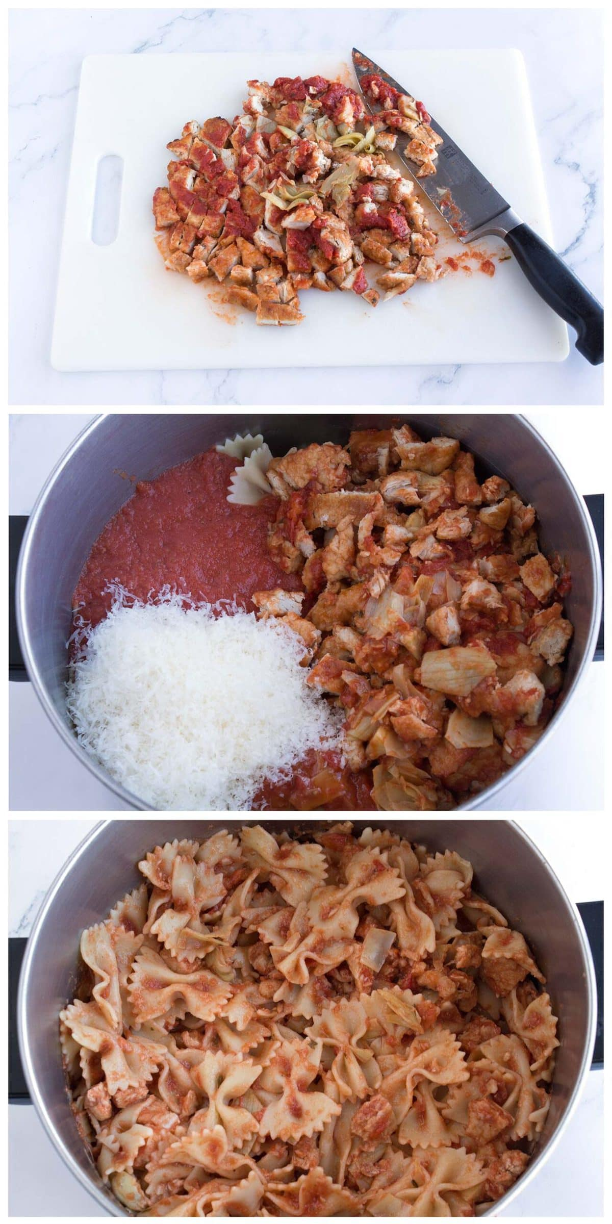 Chopped chicken on cutting board, ingredients in a pot, and final pasta stirred in pot