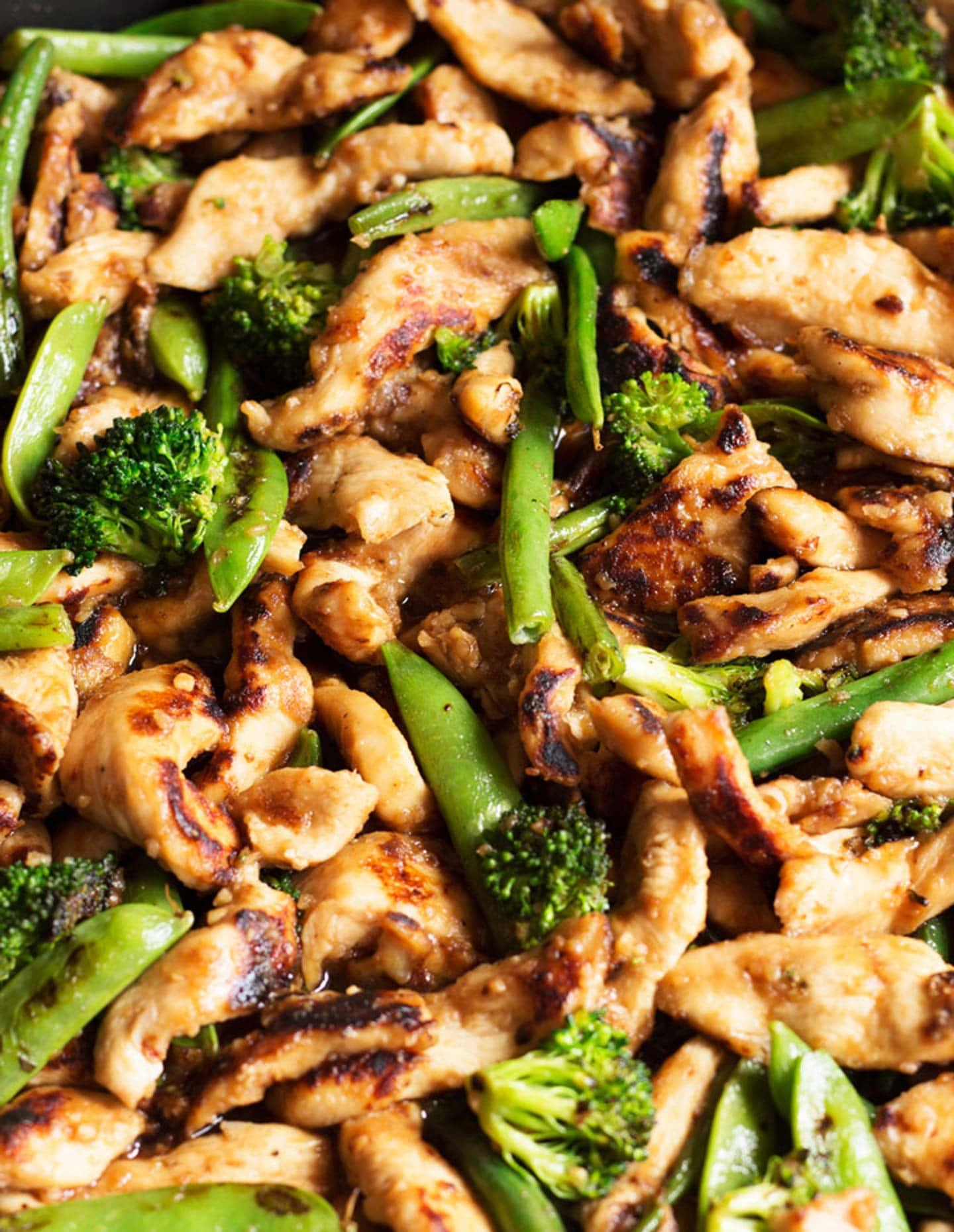 Chicken and veggies in stir-fry sauce