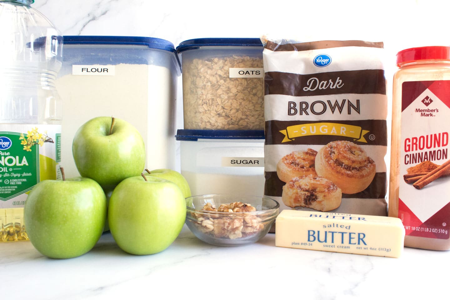 Ingredients for easy apple crisp recipe on counter