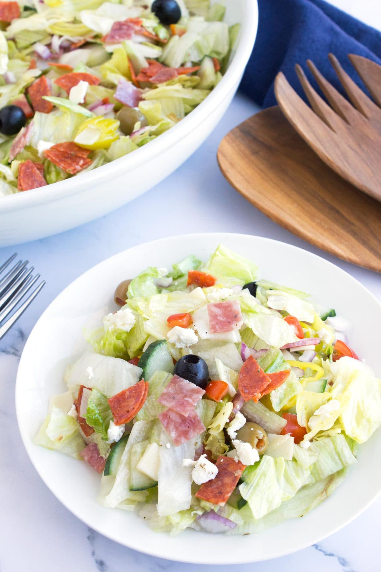 Italian Chopped Salad in a bowl with fork.