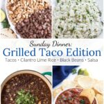 Grilled taco dinner items with graphic overlay