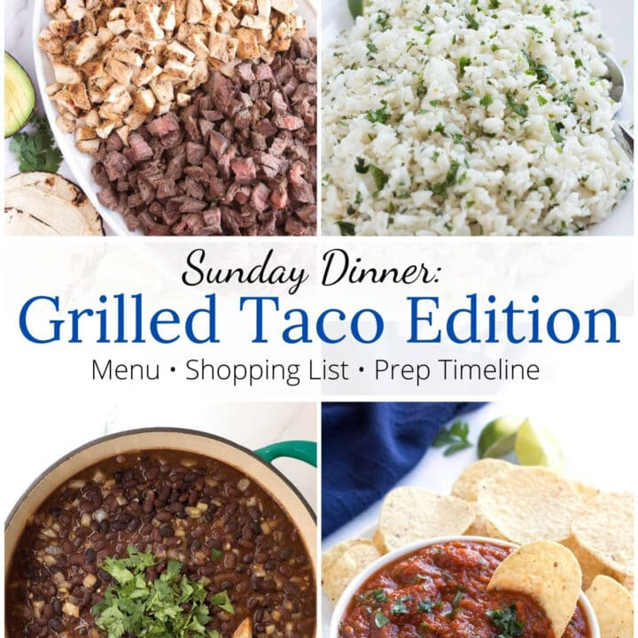 Square image of tacos, beans, rice, and salsa with graphic overlay.