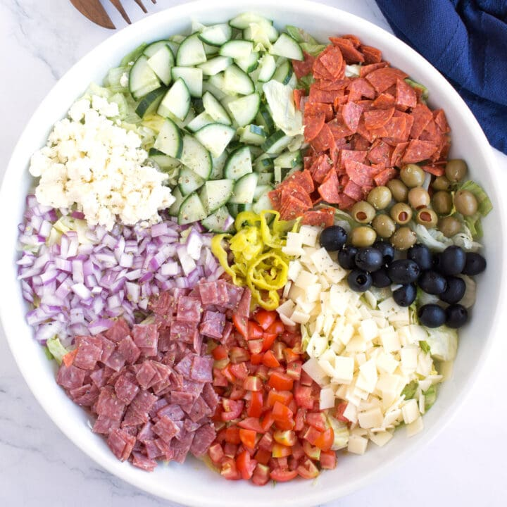 INgredients of Italian Chopped Salad in serving dish.