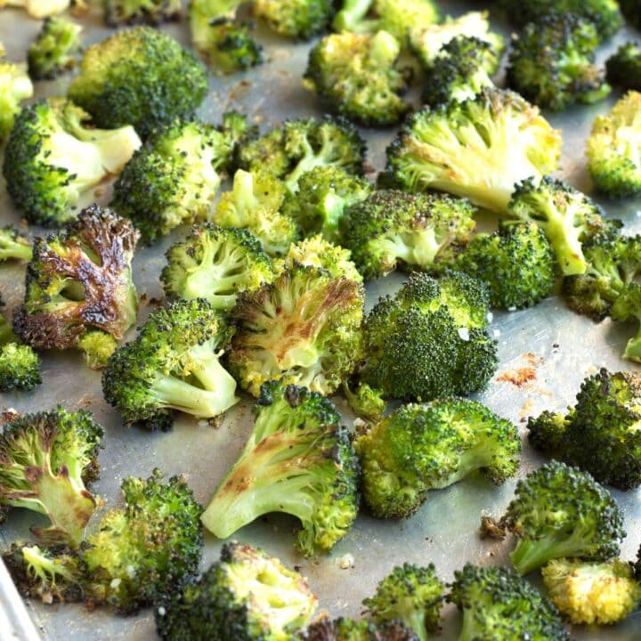 Sheet pan of perfect oven roasted broccoli