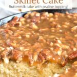 Close up of cake and praline topping with text overlay