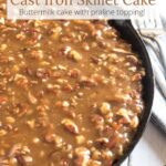 The Best Cast Iron Skillet Cake with forks and a towel with text overlay