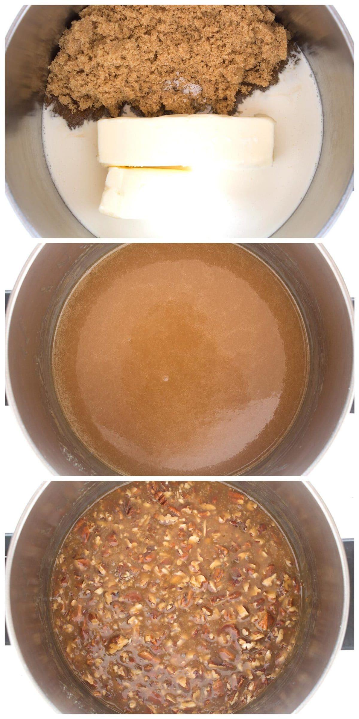 3 steps to make pecan praline topping