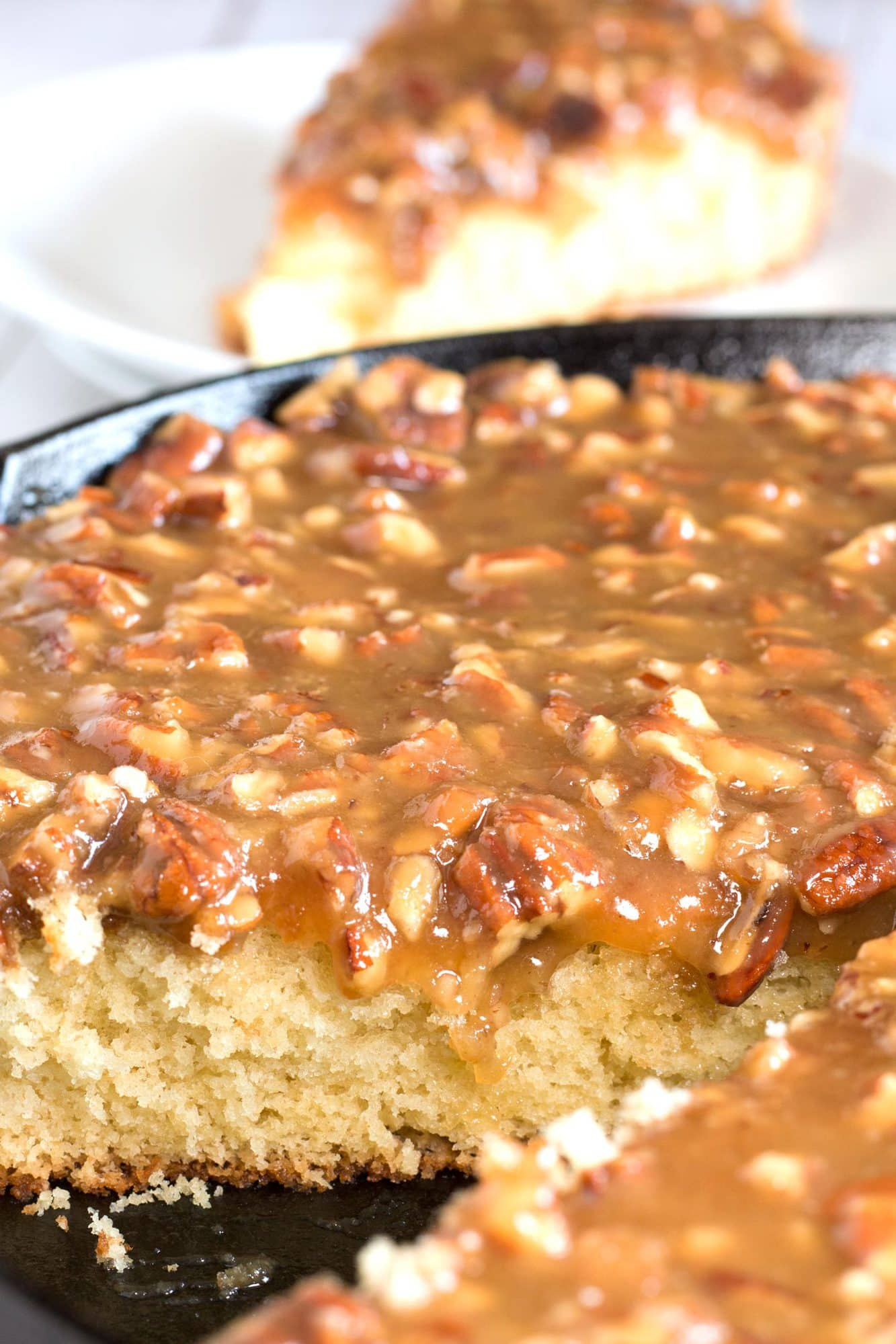 Inside of the best cast iron skillet cake with drippy praline topping