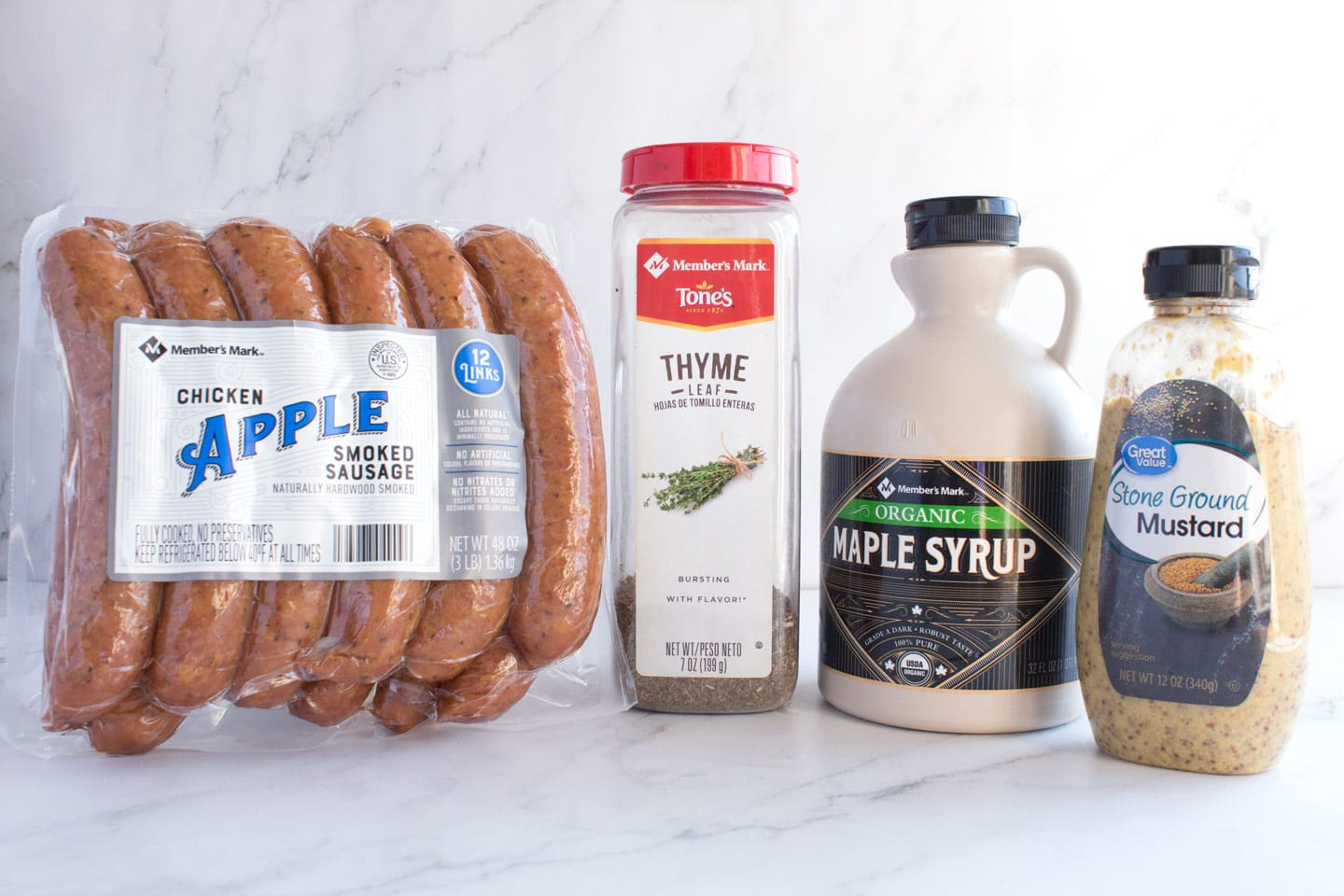 Four ingredients for chicken apple sausage bites with maple glaze.