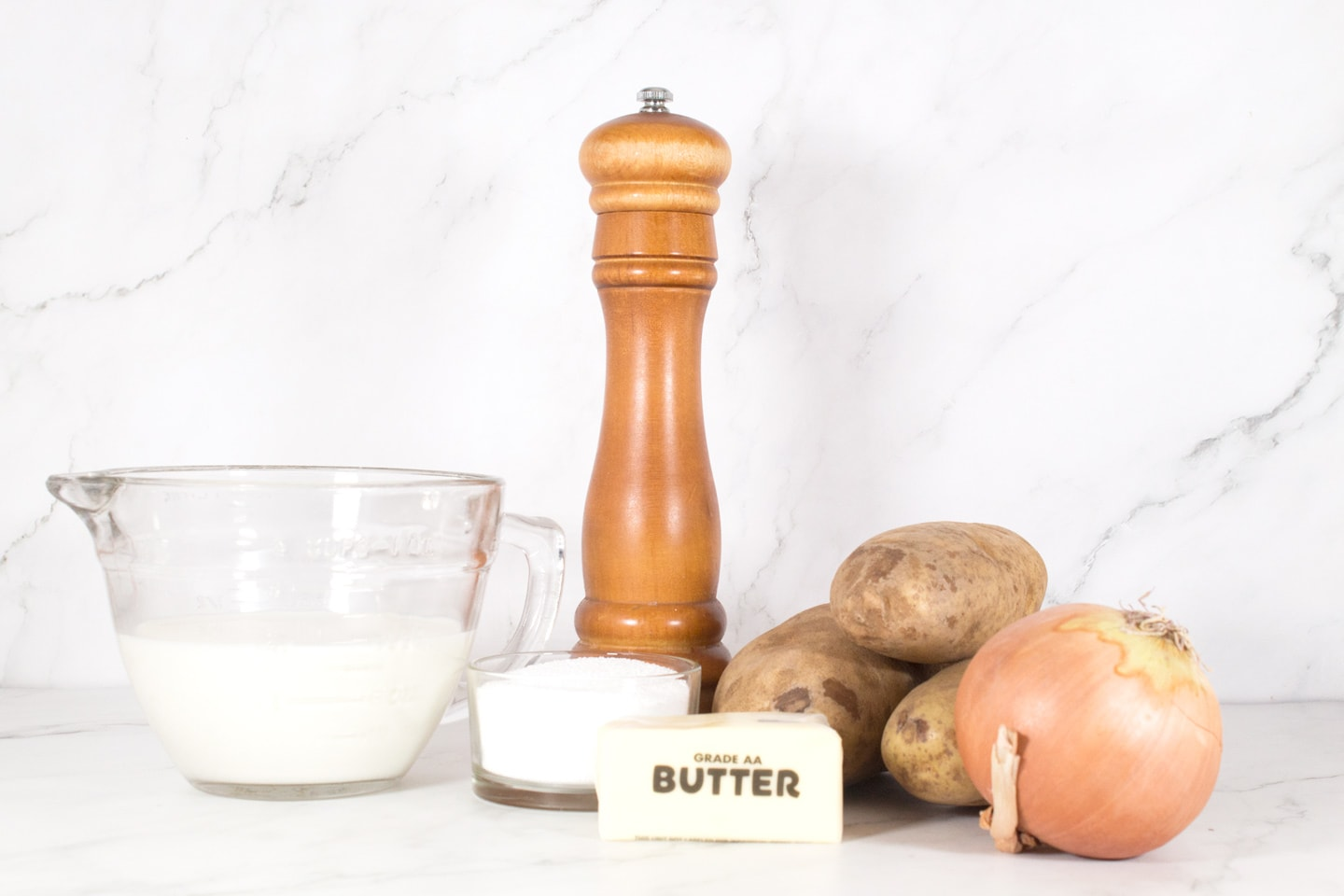 Ingredients for 4-Ingredient Slow Cooker Potato Soup.