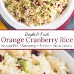 Orange Cranberry Rice with graphic overlay.