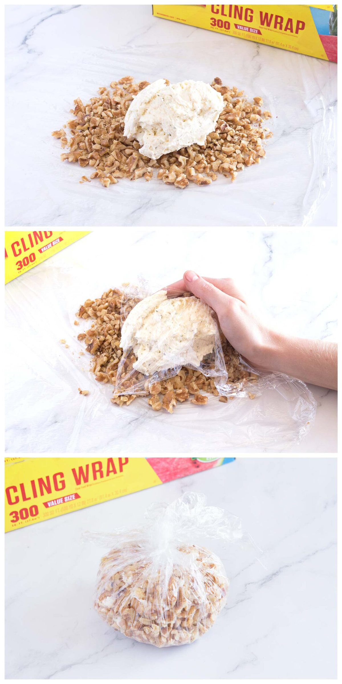 steps for how to form a cheese ball with plastic wrap