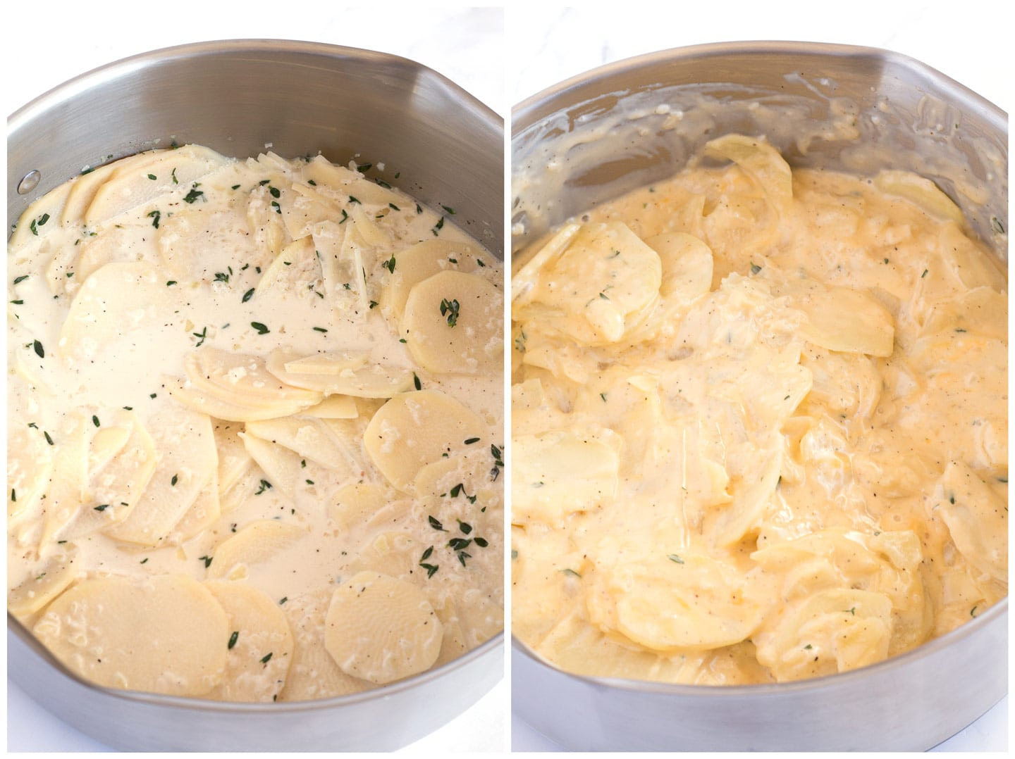 Potatoes before and after the cheese gets added to the creamy sauce.