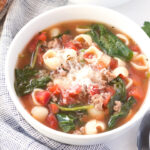 White bowl of Italian Sausage Soup with Pasta