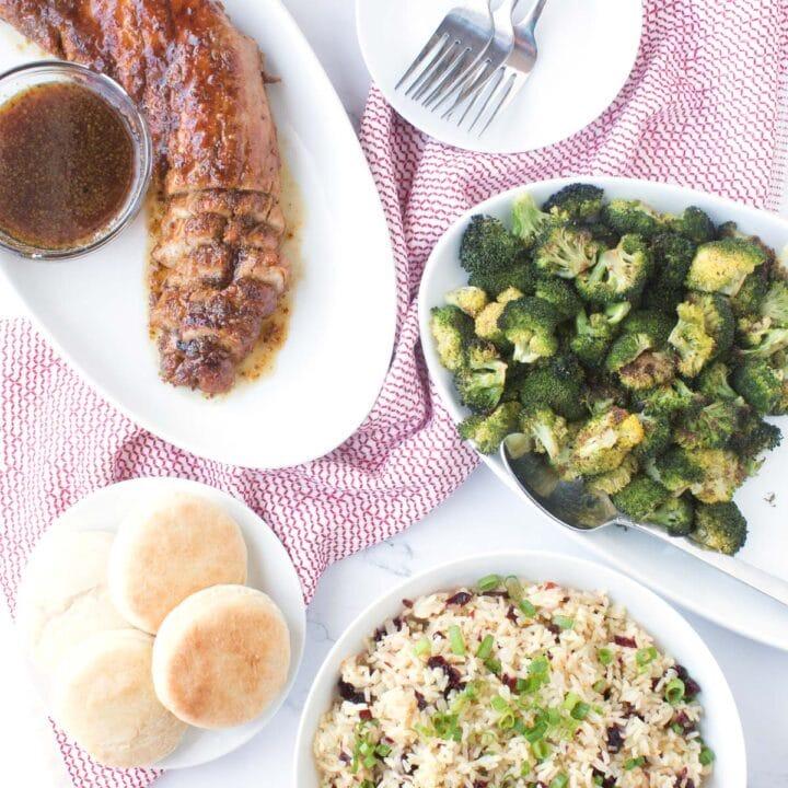 Sunday Dinner: Maple Glazed Pork Tenderloin Edition on table in serving dishes.