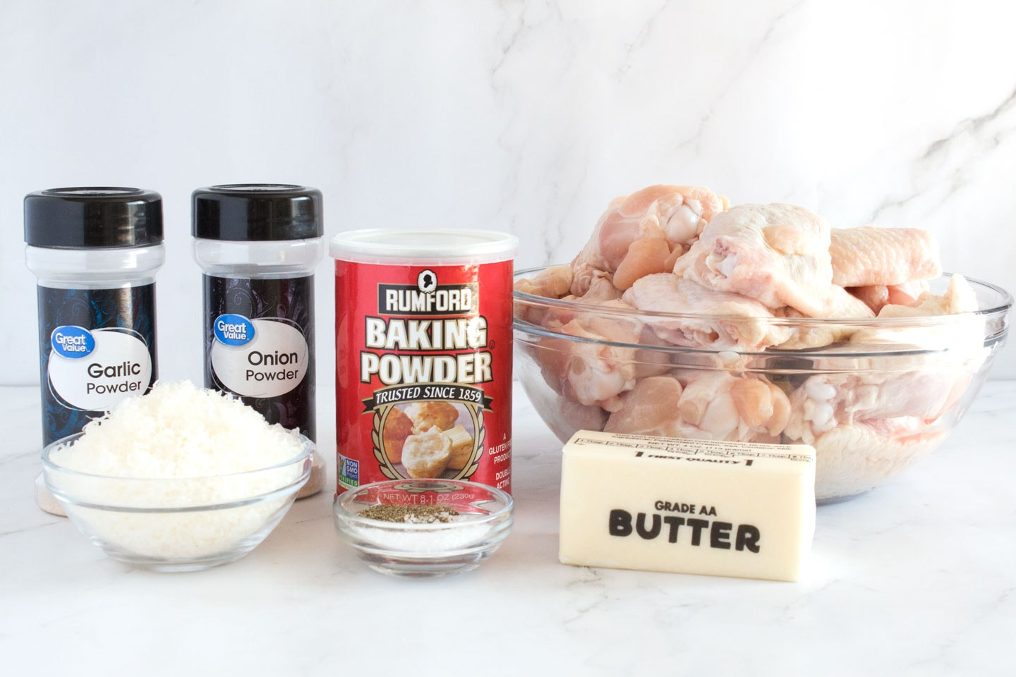 Ingredients for crispy chicken wings with baking soda on counter