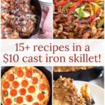 Breakfast, dessert, pizza, and fajitas cooked in a cast iron skillet with graphic overlay.