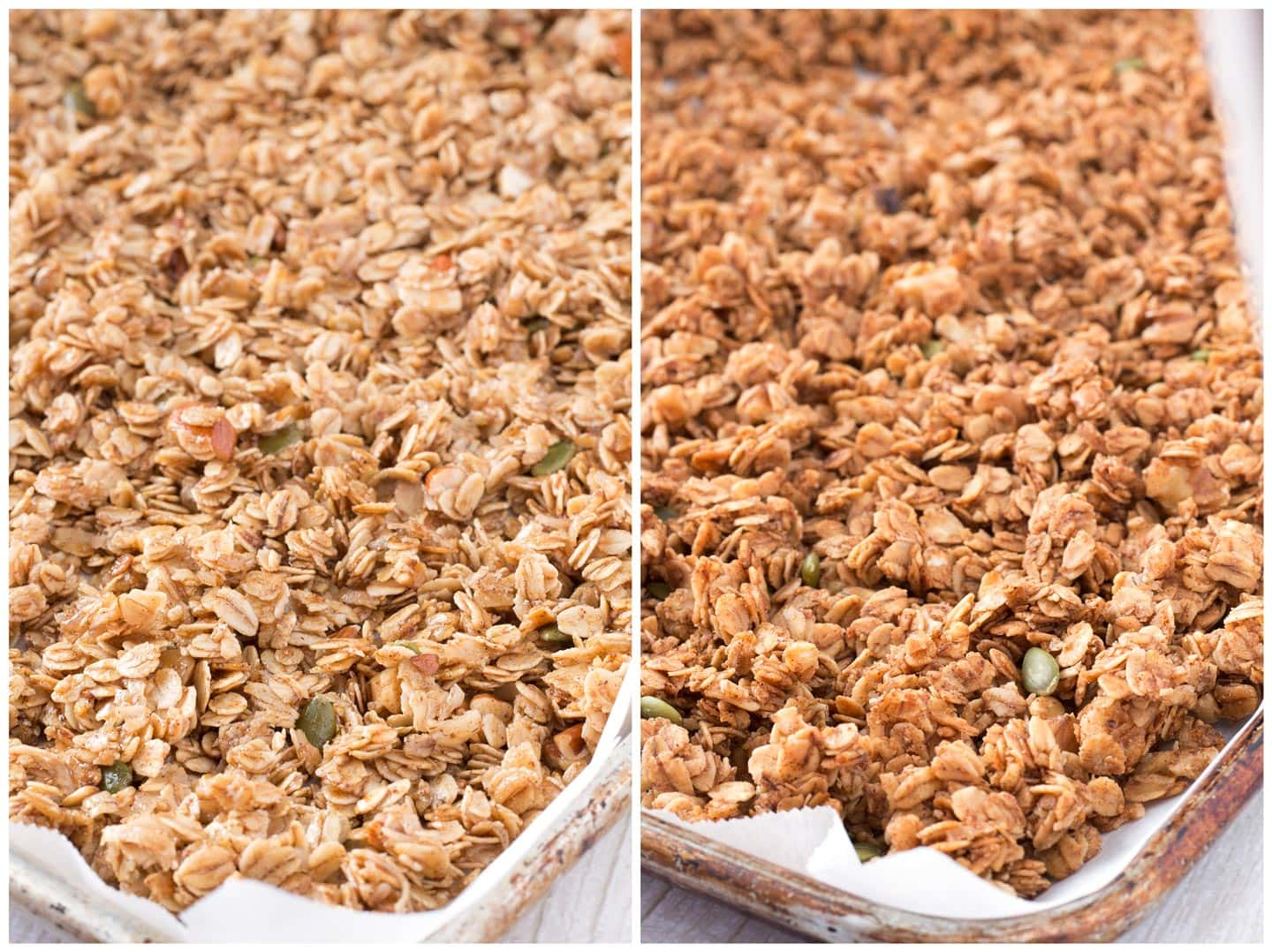 Before and after pictures of crunchy granola.