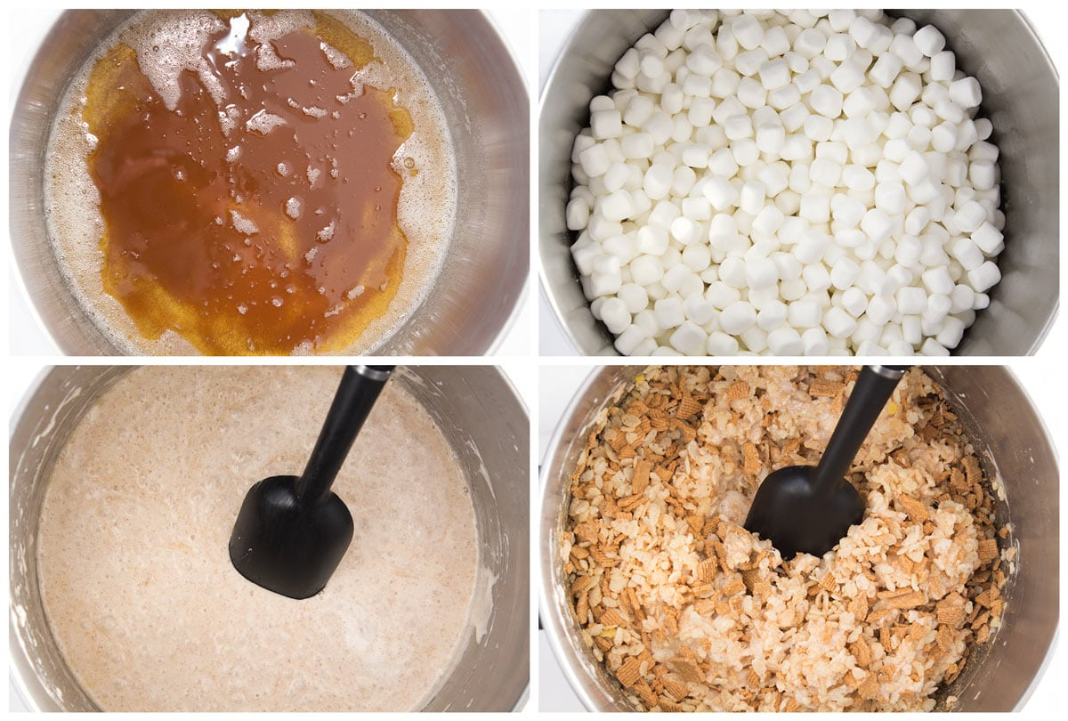 Four images showing brown butter, marshmallows, melted mixture, and cereals stirred in pot.