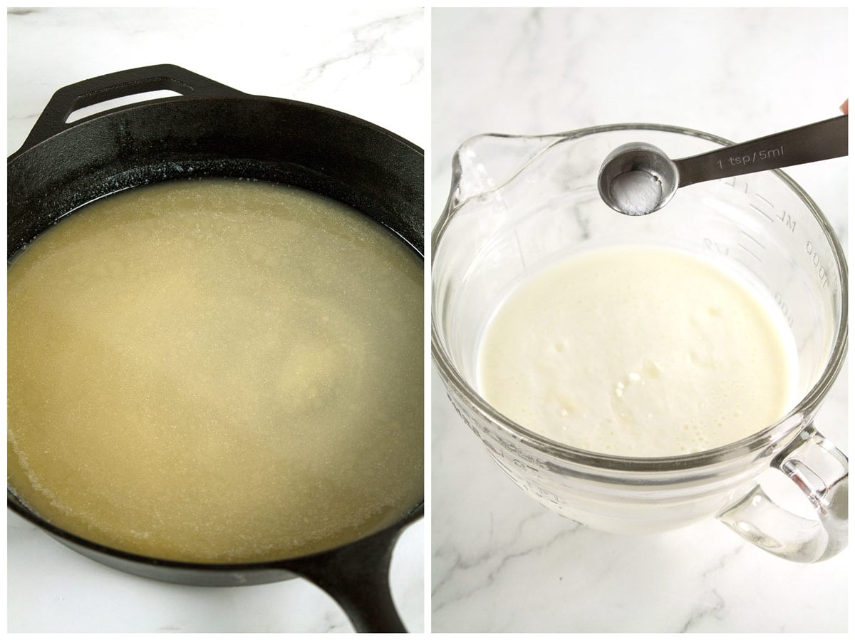 Butter melted in a cast iron skillet and buttermilk with baking soda in a bowl.
