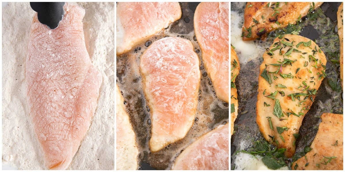 Lightly breaded breast, browned on one side with butter, flipped and browned on the other side with herbs.