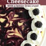 Overhead view of swirled blackberry cheesecake with text overlay.