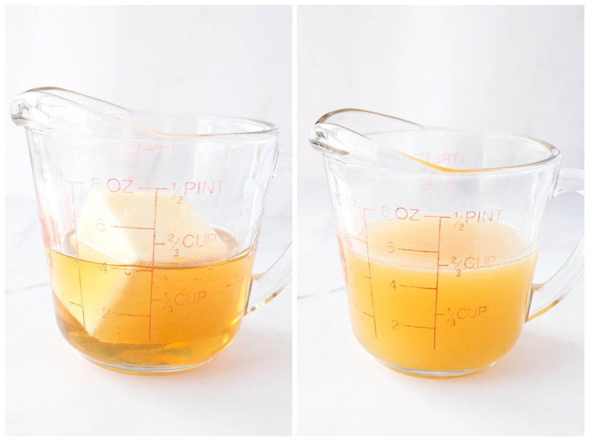Honey and butter in a glass measuring cup before and after melting.