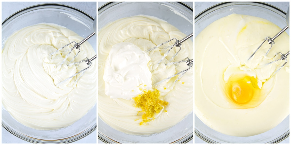 Beaten cream cheese, sour cream and zest added, then eggs added.