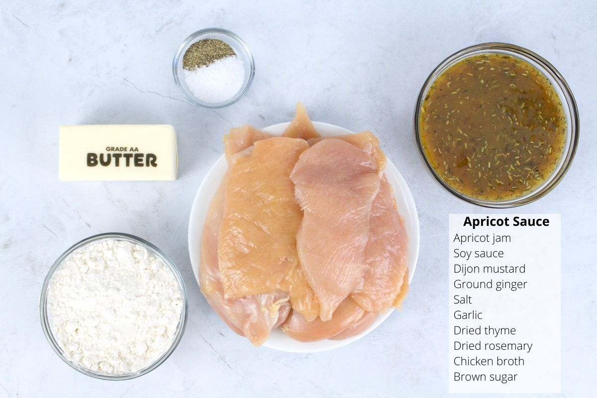 Ingredients for apricot glazed chicken on counter.