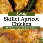 Apricot chicken in electric skillet and on white platter with text overlay.