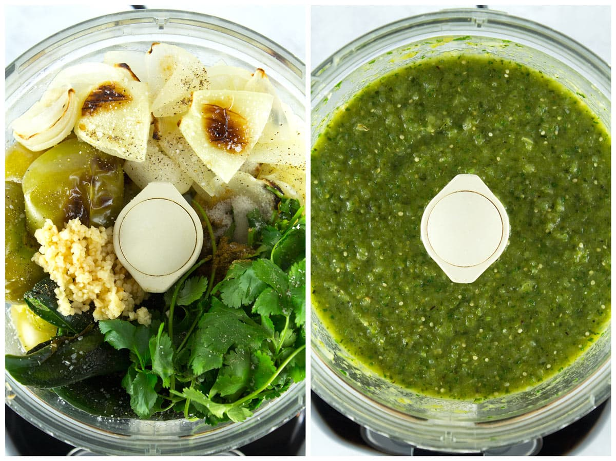 Veggies for enchilada sauce in the food processor before and after blending.