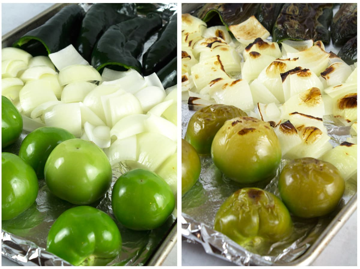 Sheet pans with tomatillos, poblanos, and onions before and after roasting.