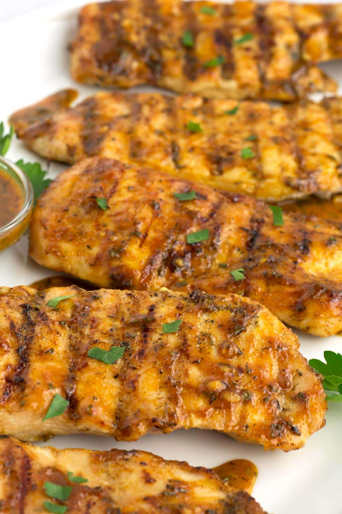 White tray with grilled honey mustard chicken breasts.