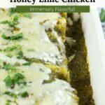 Graphic overlay on green chicken enchiladas.