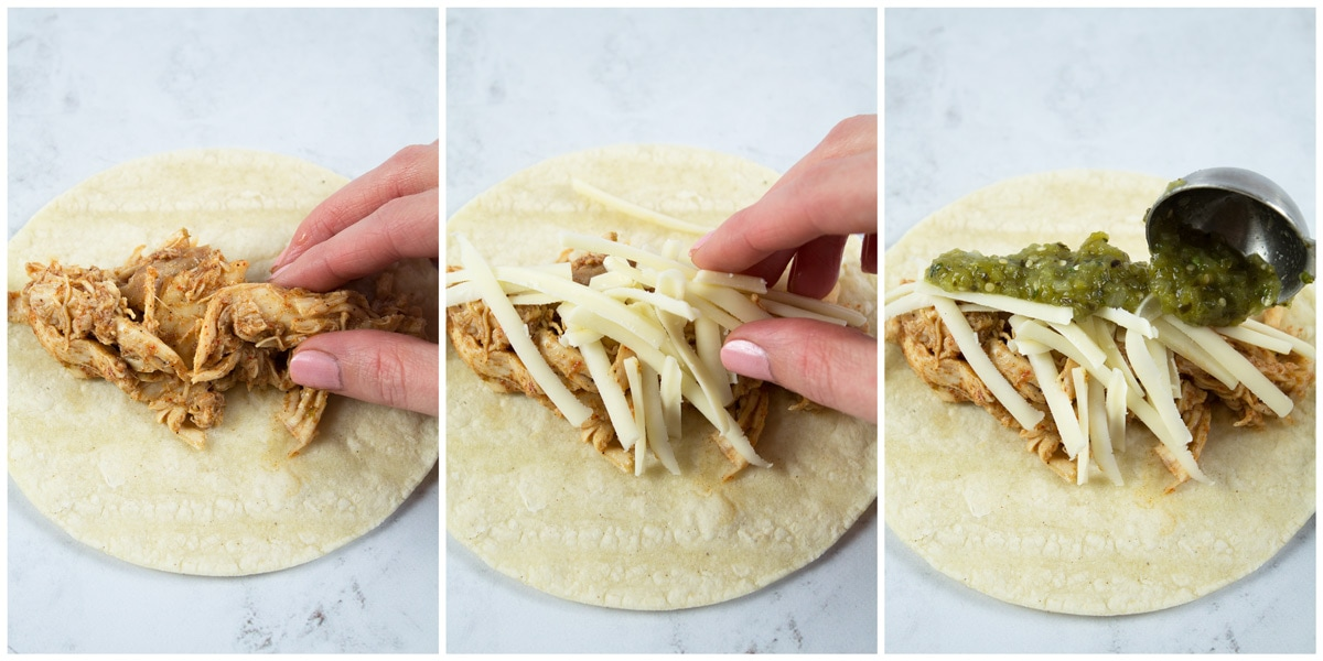 Laying the chicken, cheese, and enchilada sauce in the tortilla before rolling.